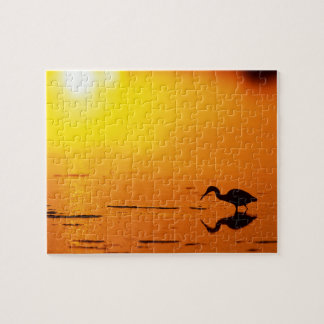 Heron silhouette at sunset, Florida Jigsaw Puzzle