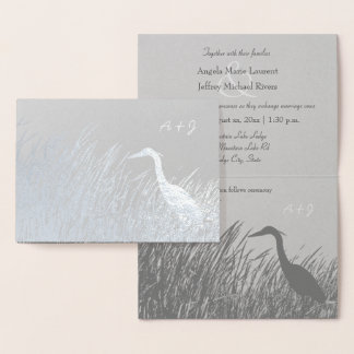 Heron silhouette rustic wedding silver foil card
