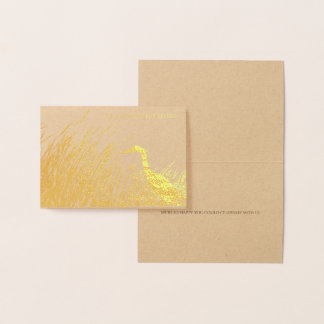Heron silhouette rustic wedding thank you gold foil card