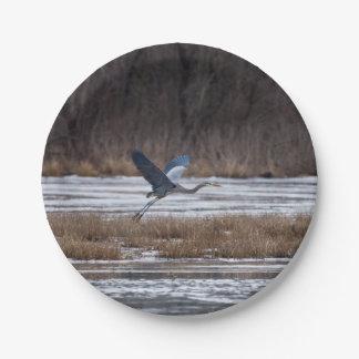 Heron Take Off Paper Plate