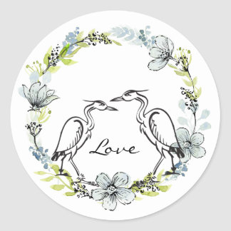 Heron Water Bird Couple ~ Blue, Green Flowers Love Classic Round Sticker