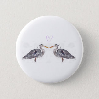 Heron with heart watercolour design 2 inch round button
