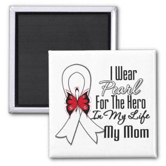Héros de ruban de cancer de poumon ma maman magnet carré
