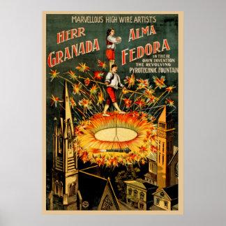 Herr Granada, Alma Fedora Vintage Wire Artists Poster