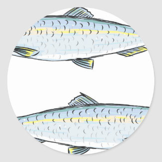 Herring Fish Sketch Classic Round Sticker