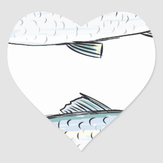 Herring Fish Sketch Heart Sticker
