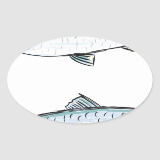 Herring Fish Sketch Oval Sticker