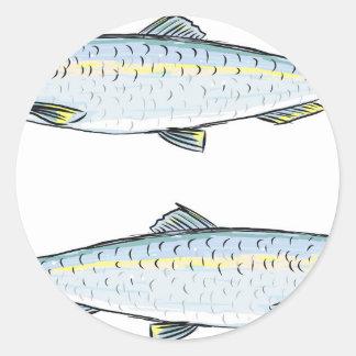 Herring Fish Sketch Round Sticker