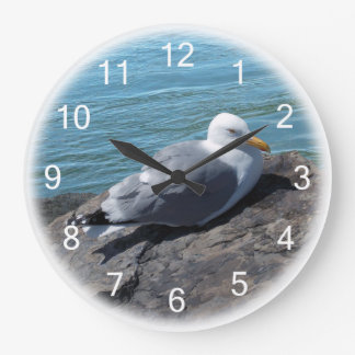 Herring Gull on Rock Jetty Large Clock