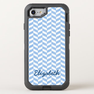 Herringbone Beach Colors Blue White | Name OtterBox Defender iPhone 7 Case