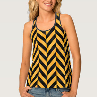Herringbone Black and Golden Yellow Tank Top