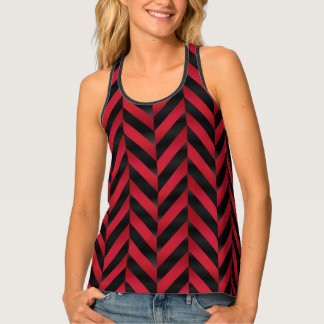 Herringbone Black and Red Tank Top