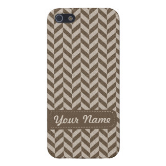 Herringbone Chevrons Pattern in Beige and Brown Cover For iPhone 5/5S