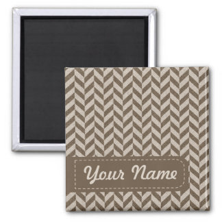 Herringbone Chevrons Pattern in Beige and Brown Square Magnet