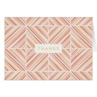 Herringbone Diamond Thank You Card - Canary