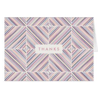 Herringbone Diamond Thank You Card - Mauve