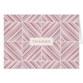 Herringbone Diamond Thank You Card - Salmon