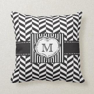 Herringbone monogram Throw Pillow