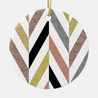 Herringbone Pattern Ceramic Ornament