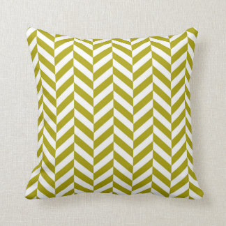 Herringbone Pattern Chartreuse Green Throw Pillow