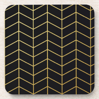 Herringbone Pattern Faux Gold Foil Black Geometric Beverage Coaster