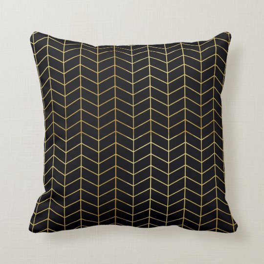 Herringbone Pattern Faux Gold Foil Black Geometric Throw Pillow