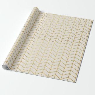 Herringbone Pattern Faux Gold Foil Ivory Geometric