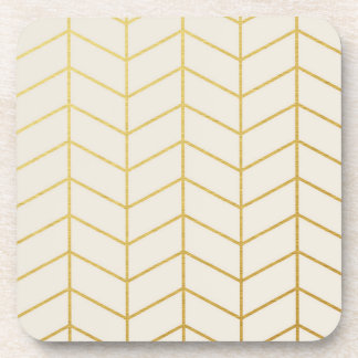 Herringbone Pattern Faux Gold Foil Ivory Geometric Coaster