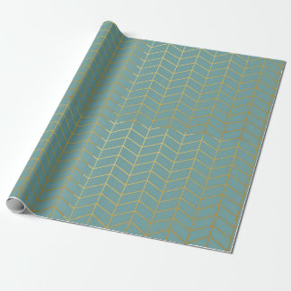 Herringbone Pattern Faux Gold Foil Teal Geometric