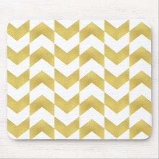 Herringbone Pattern Gold & White Mousepad