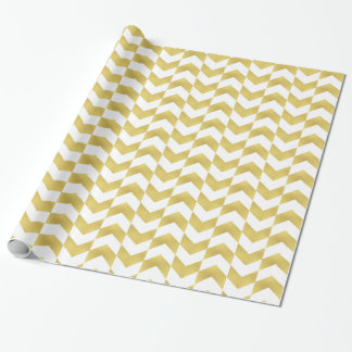 Herringbone Pattern Gold & White Wrapping Paper