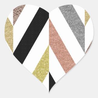 Herringbone Pattern Heart Sticker