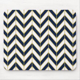 Herringbone Pattern Pillow in Navy, White and Gold Mouse Pad