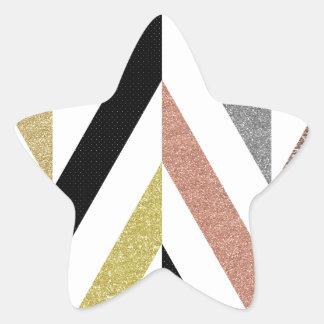 Herringbone Pattern Star Sticker