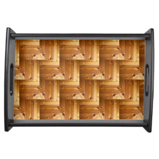 Herringbone Pine Wood Pattern Serving Tray