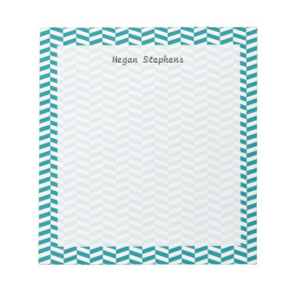 Herringbone Teal Blue Personalized Note Pad