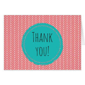 Herringbone Thank You Card Blank Inside