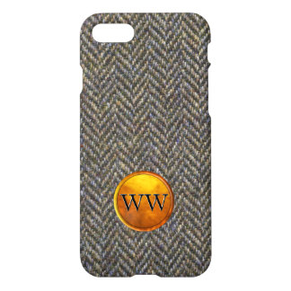 Herringbone Tweed and Gold Brass Monogram iPhone 7 Case