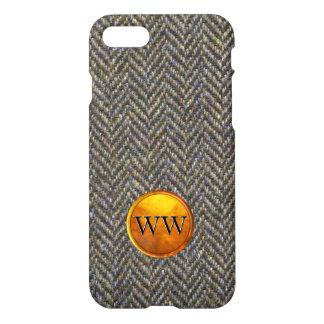 Herringbone Tweed and Gold Brass Monogram iPhone 8/7 Case