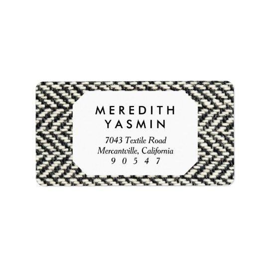 Herringbone Tweed Rustic Black & White Knit Print Label