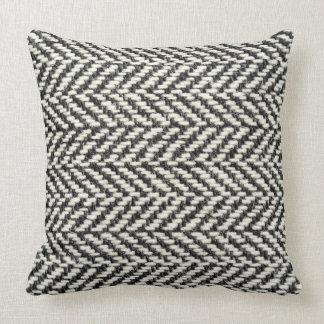 Herringbone Tweed Rustic Black & White Knit Print Throw Pillow