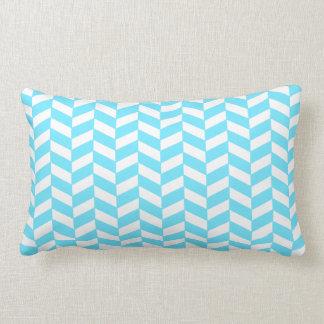 Herringbone White Bright Blue Summer Mod Pattern Lumbar Pillow