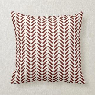Herringbone Wine Bottle Pattern Cream and Red Throw Pillow