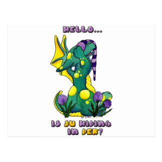 Herro is ju in der? cute baby dragon postcard
