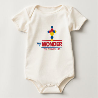 He's A Wonder baby outfit Christian themed apparel Baby Bodysuit