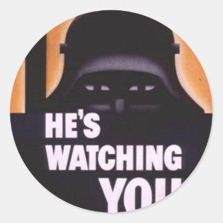 He's Watching You Propaganda Round Sticker