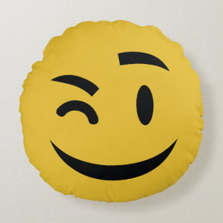 he's winking at you emoji round pillow