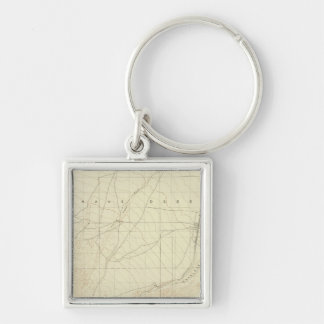 Hesperia quadrangle showing San Andreas Rift Silver-Colored Square Keychain