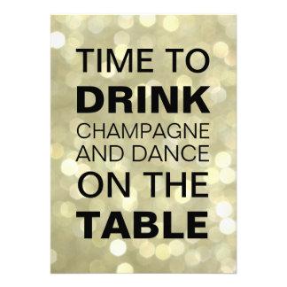 Heure de boire l invitation d anniversaire d or de