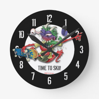Heure de faire de la planche à roulettes horloge m